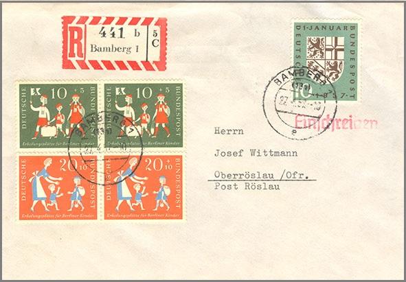 Beleg Bund Mi249 25051 Einschreiben Brief Briefmarken Versand